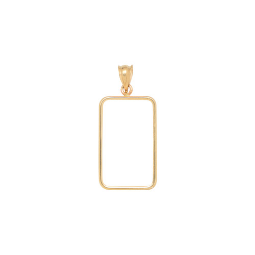 14KT Yellow Gold High Polish Rectangular 5 Gram Coin Frame Necklace