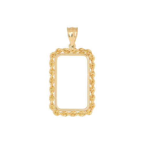 14KT Yellow Gold 10 Gram Rope Design Coin Frame Necklace