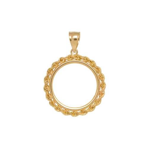 14KT Yellow Gold 1/10 Ounce Rope Coin Frame Necklace