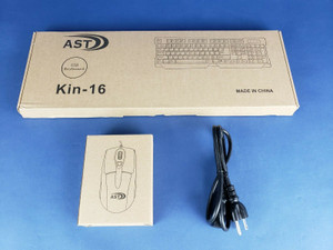 AST Keyboard, Mouse and Power Cord Kin-16 Slim USB Wired Black Bundle NEW IN BOX