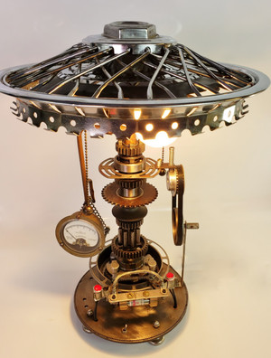Steampunk Industrial Lamp, Wire Wheel Shade, Hand-made, Lots of fun details!!