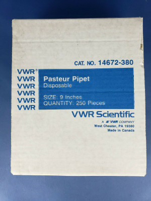 "VWR 14672-380 Disposable 9"" Pasteur Pipets Lime Glass, 250 pieces,New Open Box"