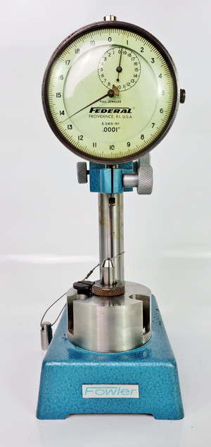 FOWLER DELUXE GAGE STAND with FEDERAL E3BS-R1 DIAL INDICATOR, Nice!