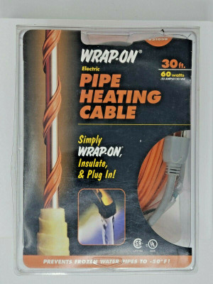 Wrap-On Pipe Heating Cable, 30-Feet, 120 Volt, Built-in Thermostat, Low Watt NEW