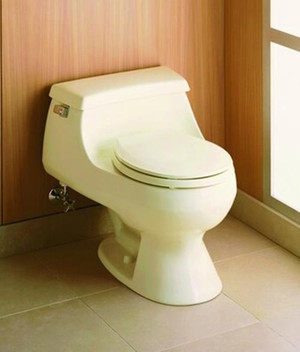 KOHLER RIALTO 3386-96 One Piece Round Front Standard Height Toilet, Biscuit, NEW