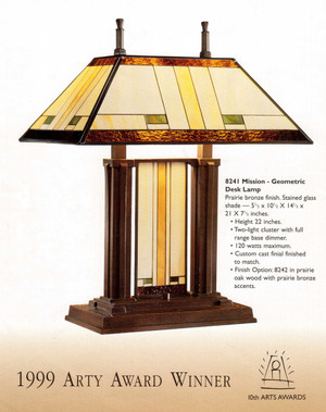 Stiffel Mission Stained Glass Desk Lamp