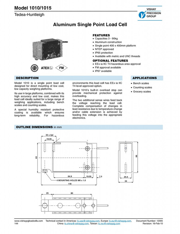 Tedea Huntleigh Load Cells 1010 Manufacturer's Specifications