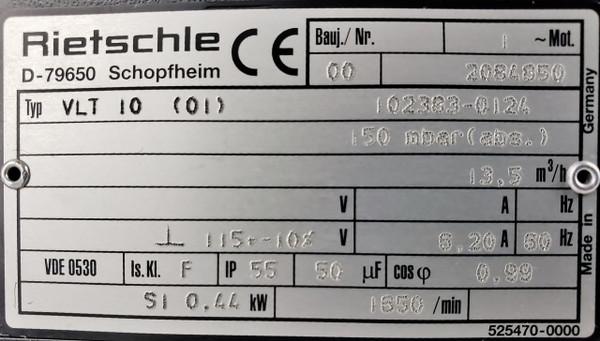RIETSCHLE THOMAS PICO VLT 10 (01)115V S1 0.44KW.59 HP VACUUM PUMP Gardner Denver