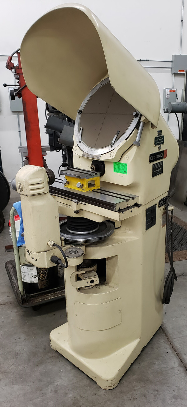 "JONES & LAMSON PC-14A 14"" 50X Optical Comparator, Overlay Clips, Fixture Base"