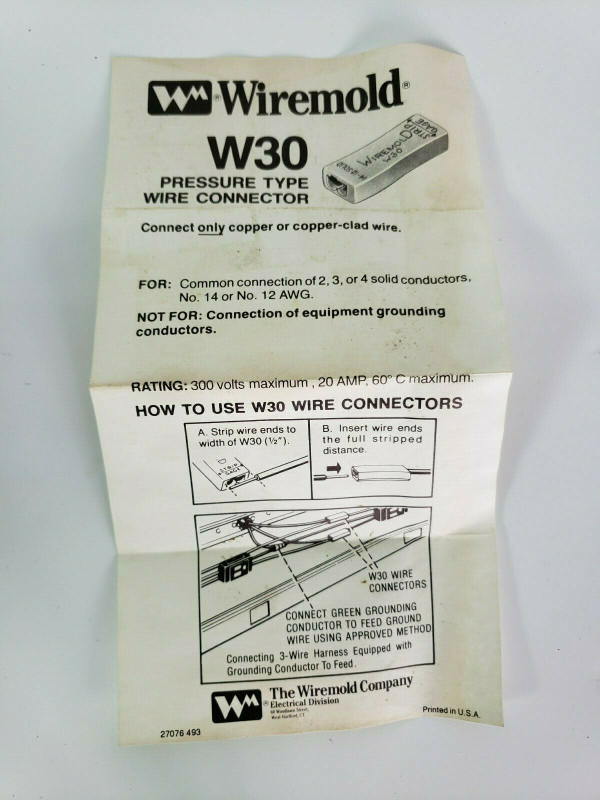 Wiremold Legrand W30 2000 Pressure-Type Wire Connectors Fitting New in 24CT Bags