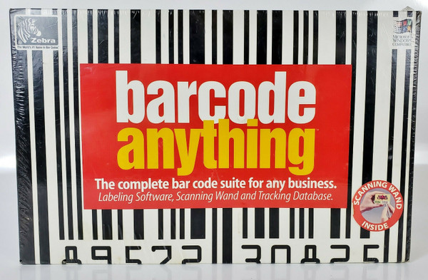 ZEBRA BARCODE ANYTHING Suite: Scanning Wand, Software, Manual, New Unopened!!