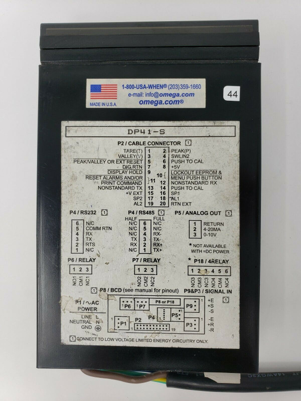 OMEGA STRAIN GAUGE ANALOG / DIGITAL INDICATOR DP41-S DP41S with 10' Cord