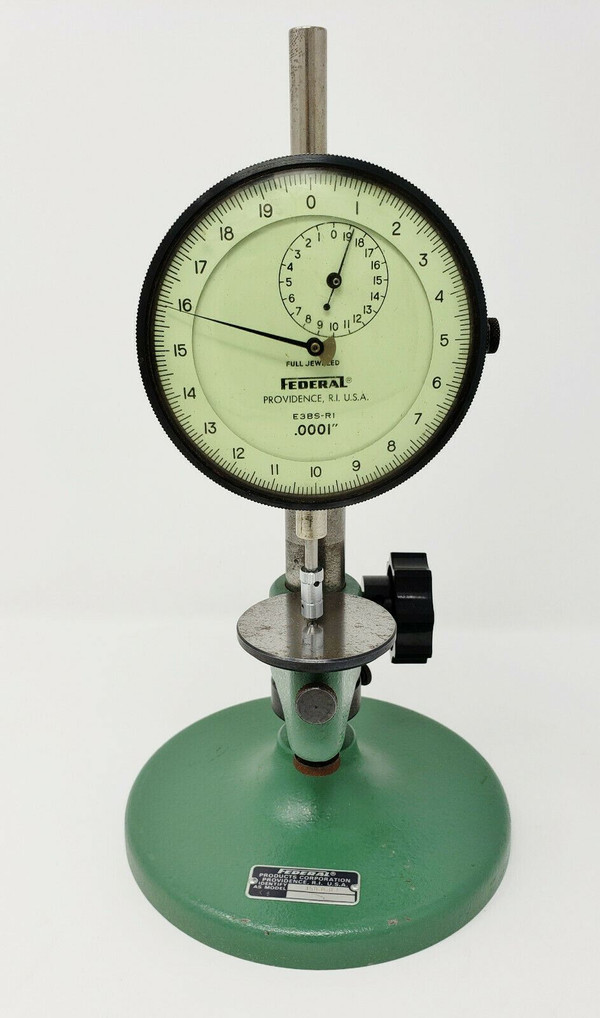 "FEDERAL GAUGE Dual Machinist Dial Indicator E3BS-R1, 0.0001"" w/ 35B-8-R1 Stand"
