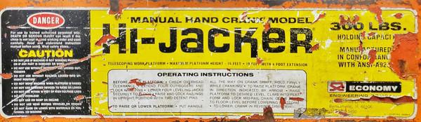 HI-JACKER LIFT TELESCOPING WORK PLATFORM LADDER 15' LIFT 300 LB CAPACITY  Works