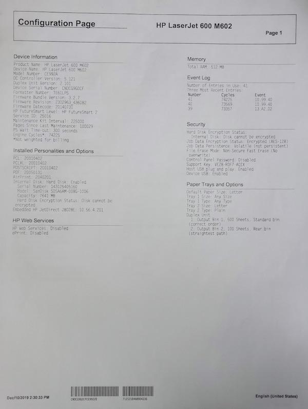 HP LASER PRINTER M602DN COMMERCIAL WORKGROUP CE992A, USB, LAN, Duplex 52ppm