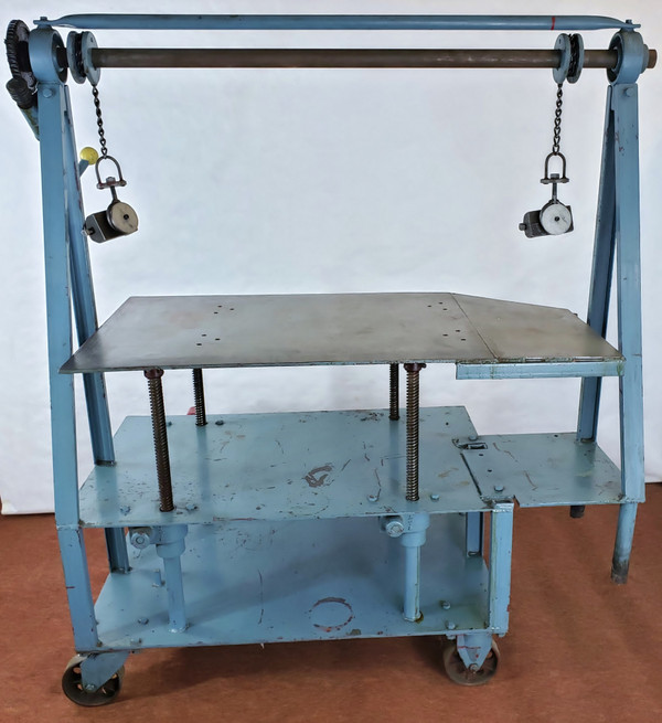 """DIE CART Mobile Lift, Multiduty Die Truck, 52""""W Table Cranks Up & Down, Exc Cond"""