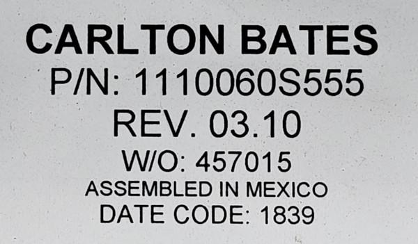 CARLTON BATES CABLE P/N 1110060S555 Rev. 03.10 W/O 457015