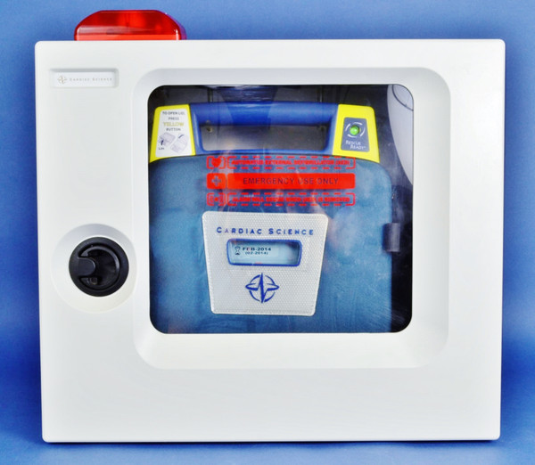 Cardiac Science Defibrillator G3 AED Complete: Battery, Pads, Case, Wall Cabinet