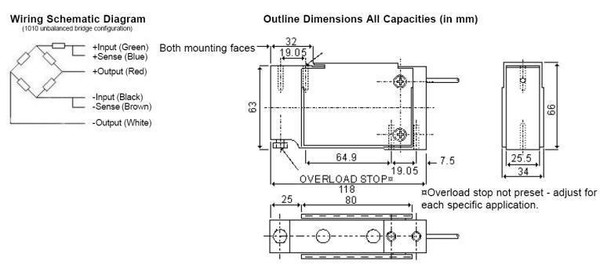 TEDEA HUNTLEIGH LOAD CELLS 1010-F-90 Drawing