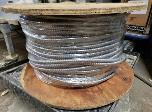 ARMORED CABLE AC 14-3 ACTHH on Wooden Spool, 14 ga 3 wire + ground, Solid Copper
