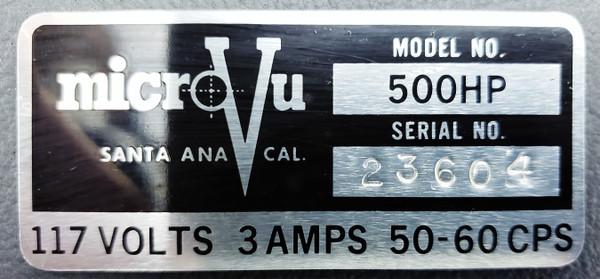 "Micro-Vu 500HP Optical Comparator 12"" Screen"