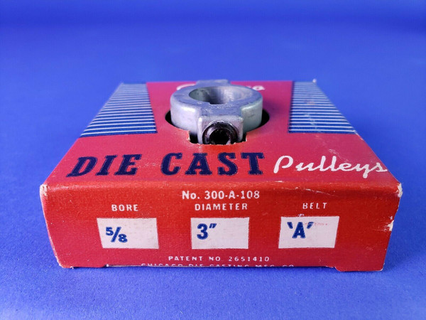 """Chicago Die Cast 300-A-108 Pulley 5/8"""" Bore 3"""" Diameter A Belt  NEW MADE IN USA!"""