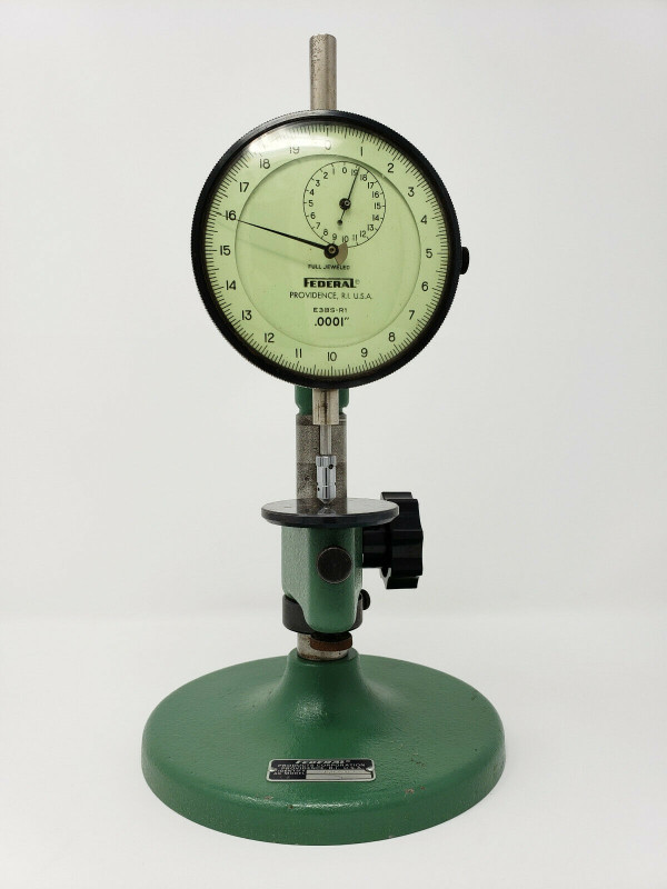 """FEDERAL GAUGE Dual Machinist Dial Indicator E3BS-R1, 0.0001"""" w/ 35B-8-R1 Stand"""