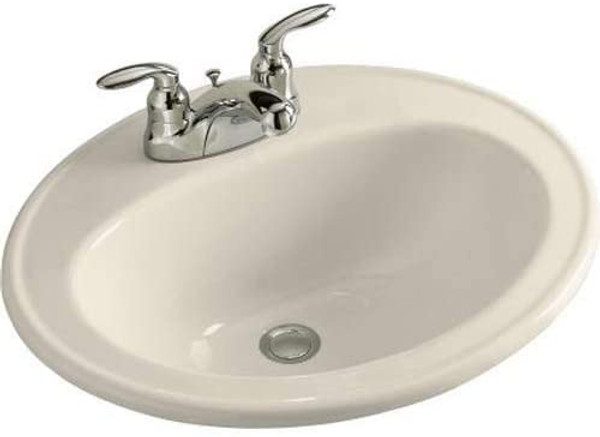 KOHLER K-2196-4-47 Pennington Self-Rimming Bathroom Sink, Almond NEW