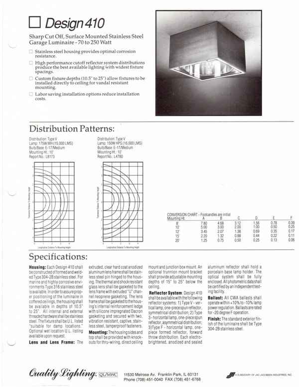 Philips Quality Lighting 410 Brochure  page 1