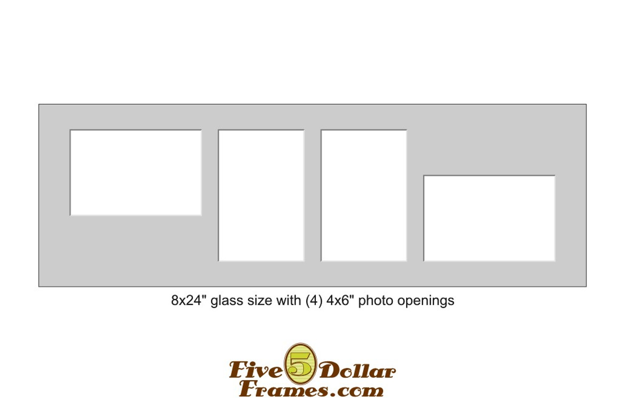 """8x24"""" Matboard w/ 4 - 4x6"""" offset rectangle openings"""