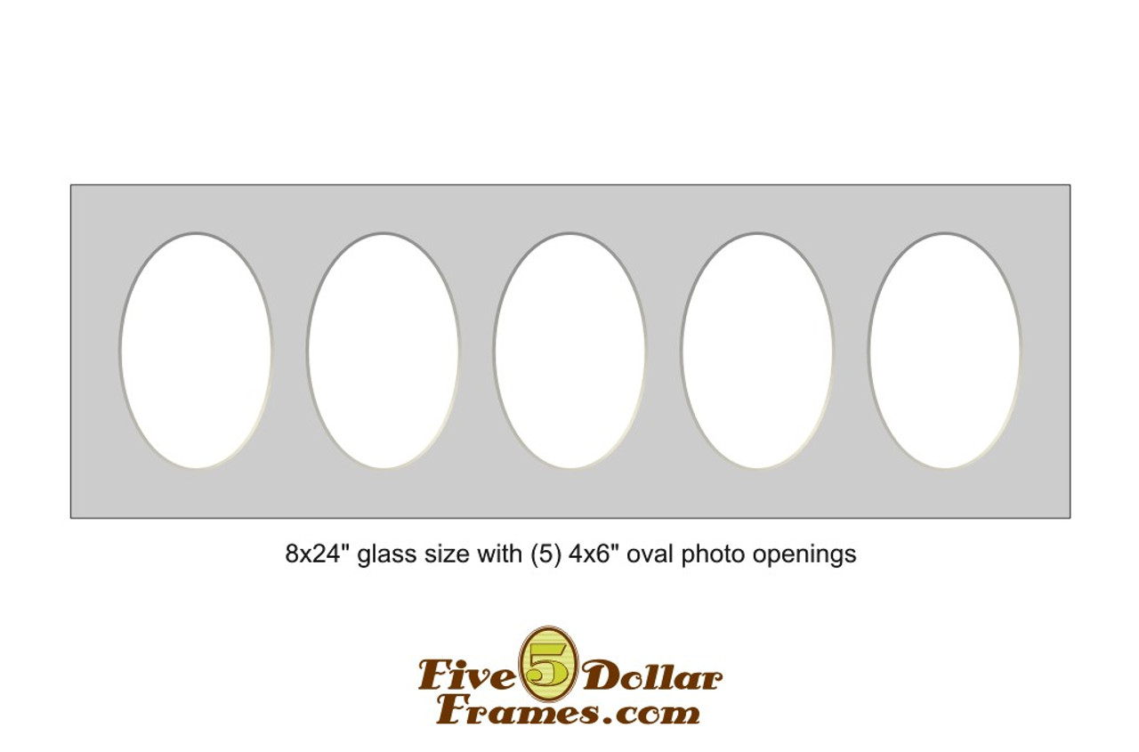 """8x24"""" Matboard with 5 - 4x6"""" oval photo openings"""