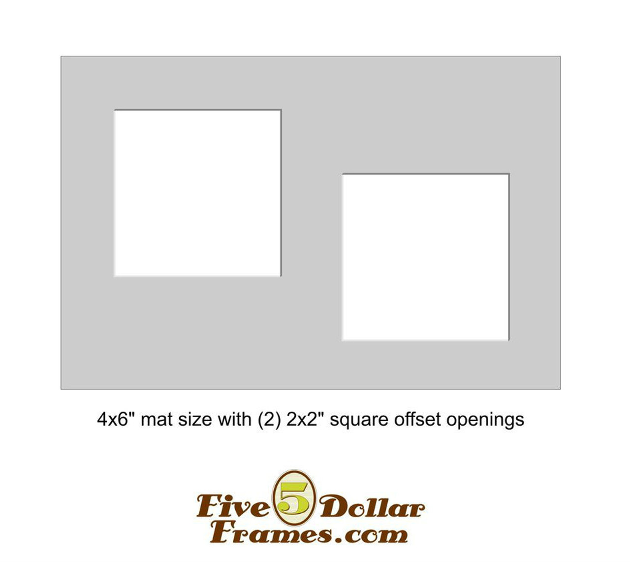 "4x6"" Matboard - Double 2"" Square Offset Opening"