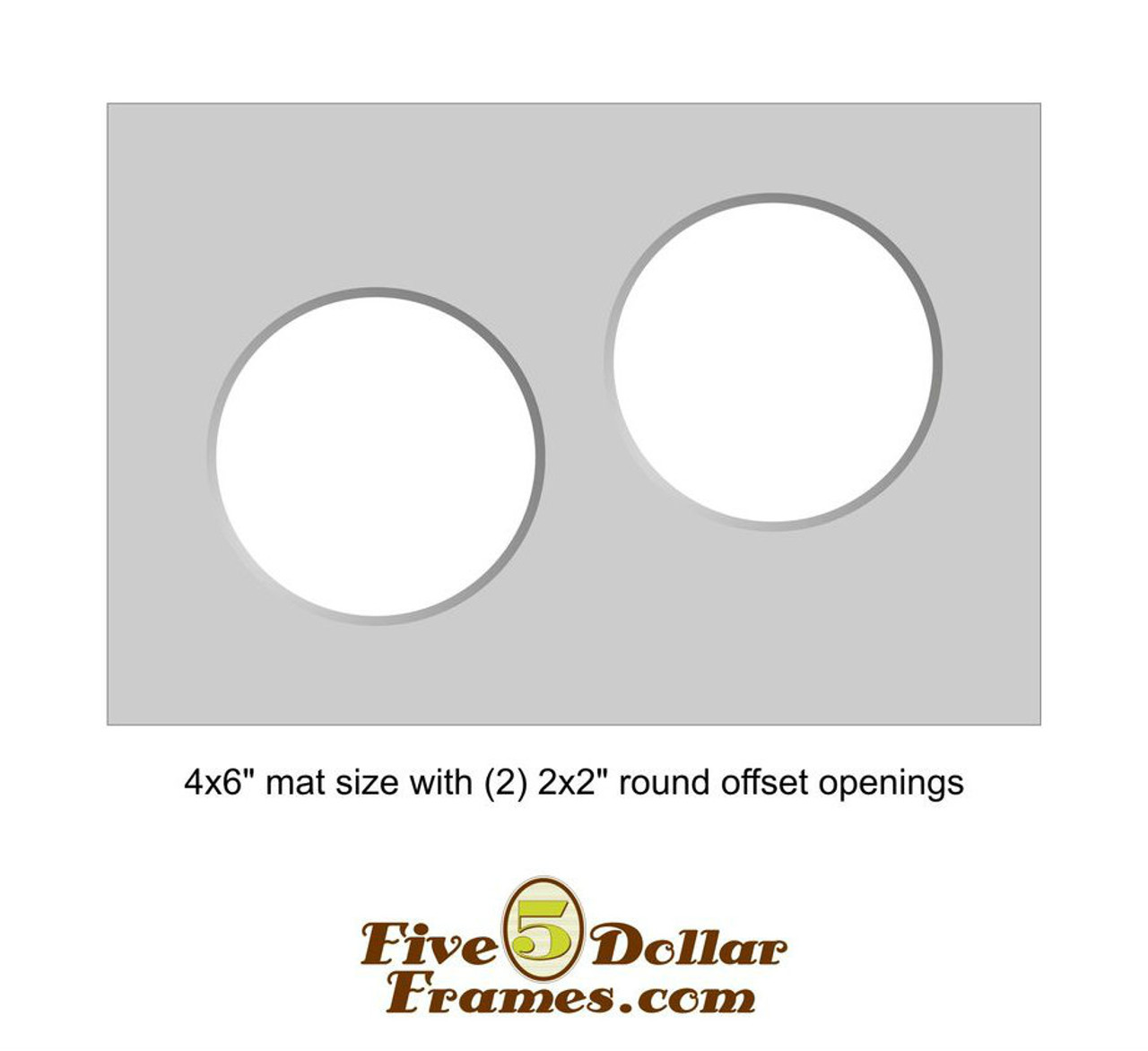 """4x6"""" Matboard - Double 2"""" Round Offset Opening"""