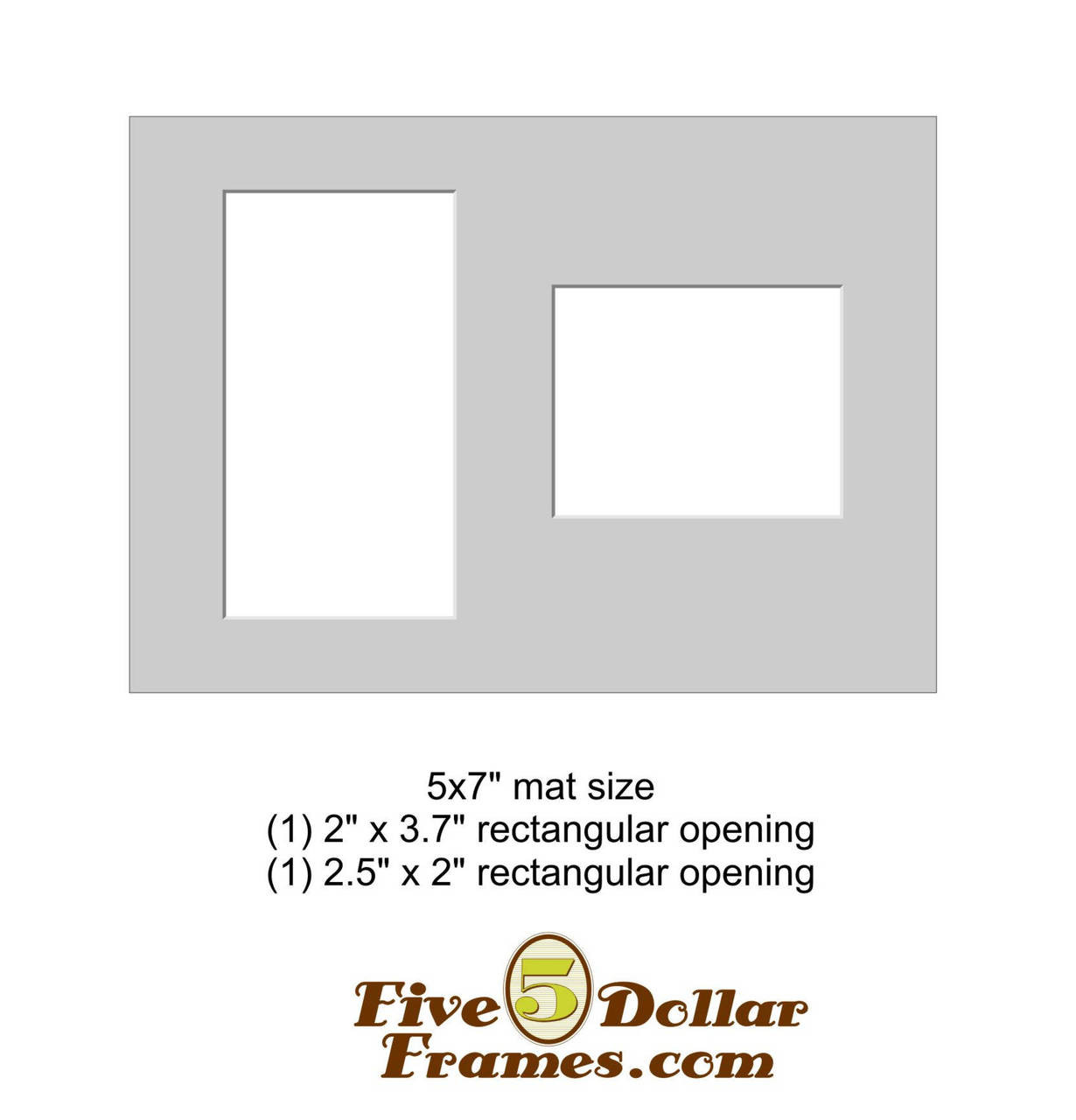 "5x7"" Matboard - 2 Rectangle Openings"