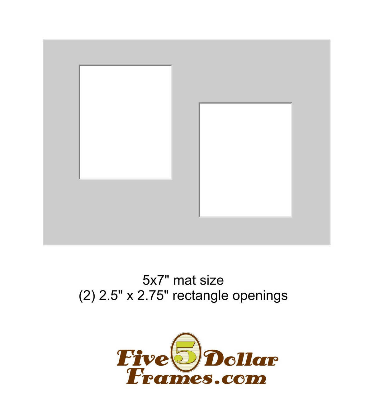"5x7"" Matboard - 2 Offset Rectangle Openings"