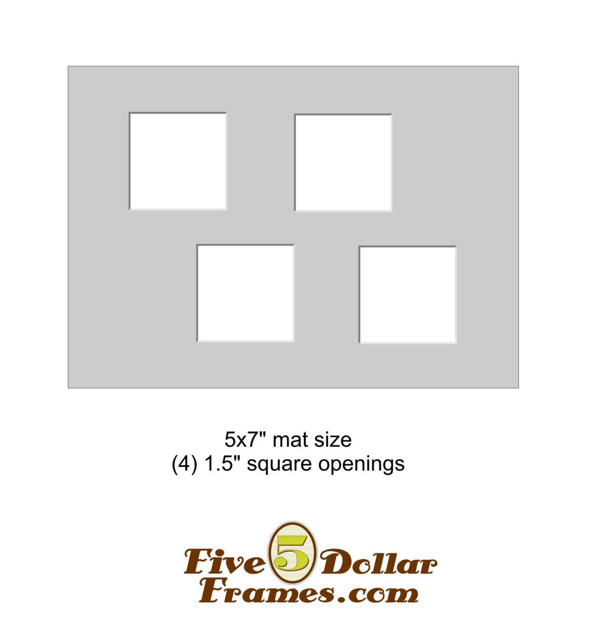 """5x7"""" Matboard - 4 Square openings"""