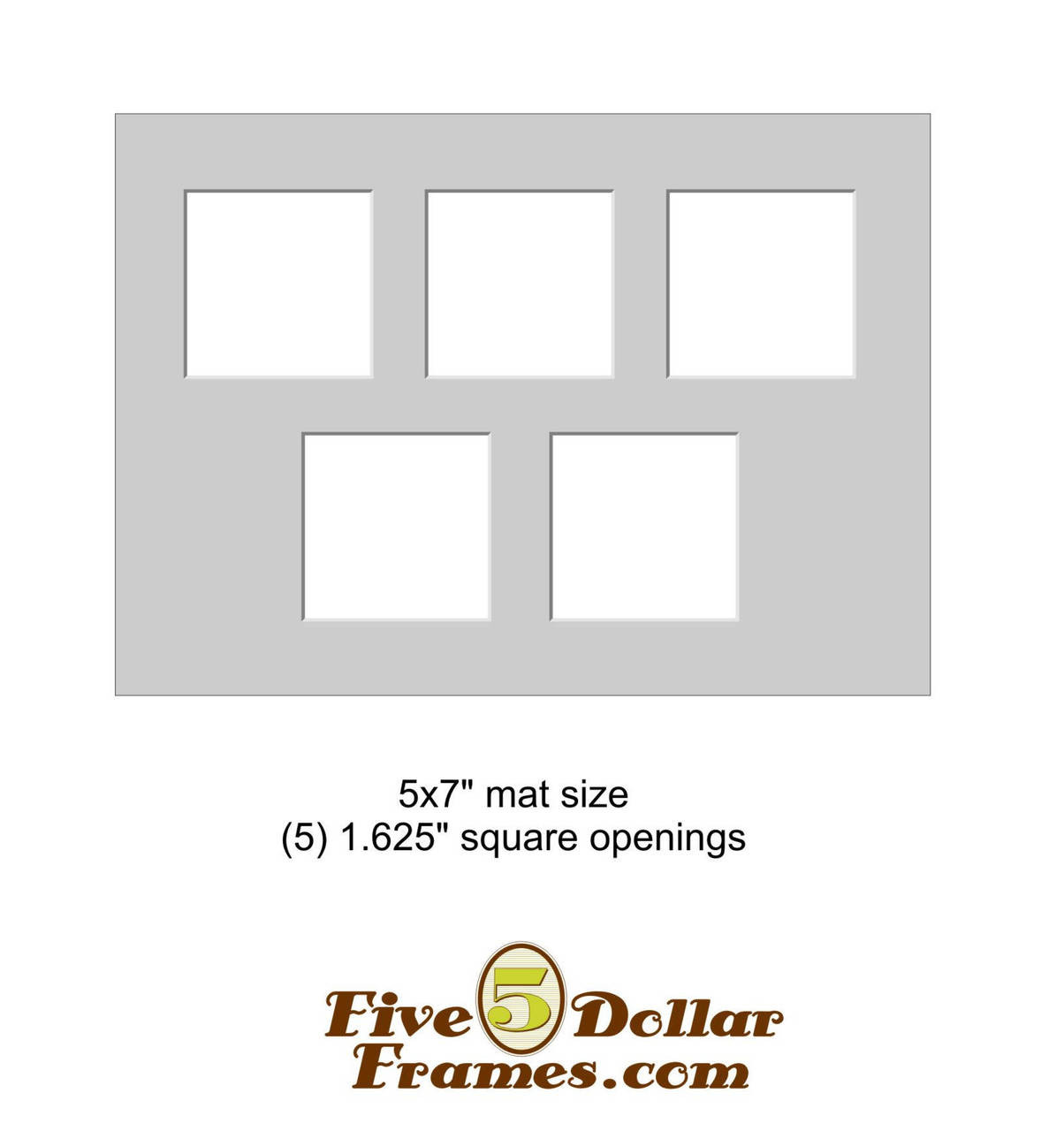 "5x7"" Matboard - 5 Square Openings"