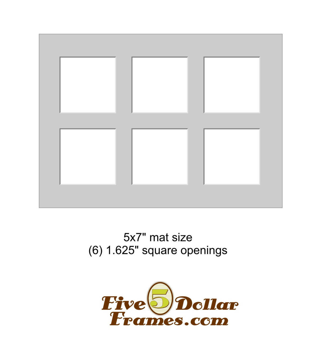 """5x7"""" Matboard - 6 Square Openings"""