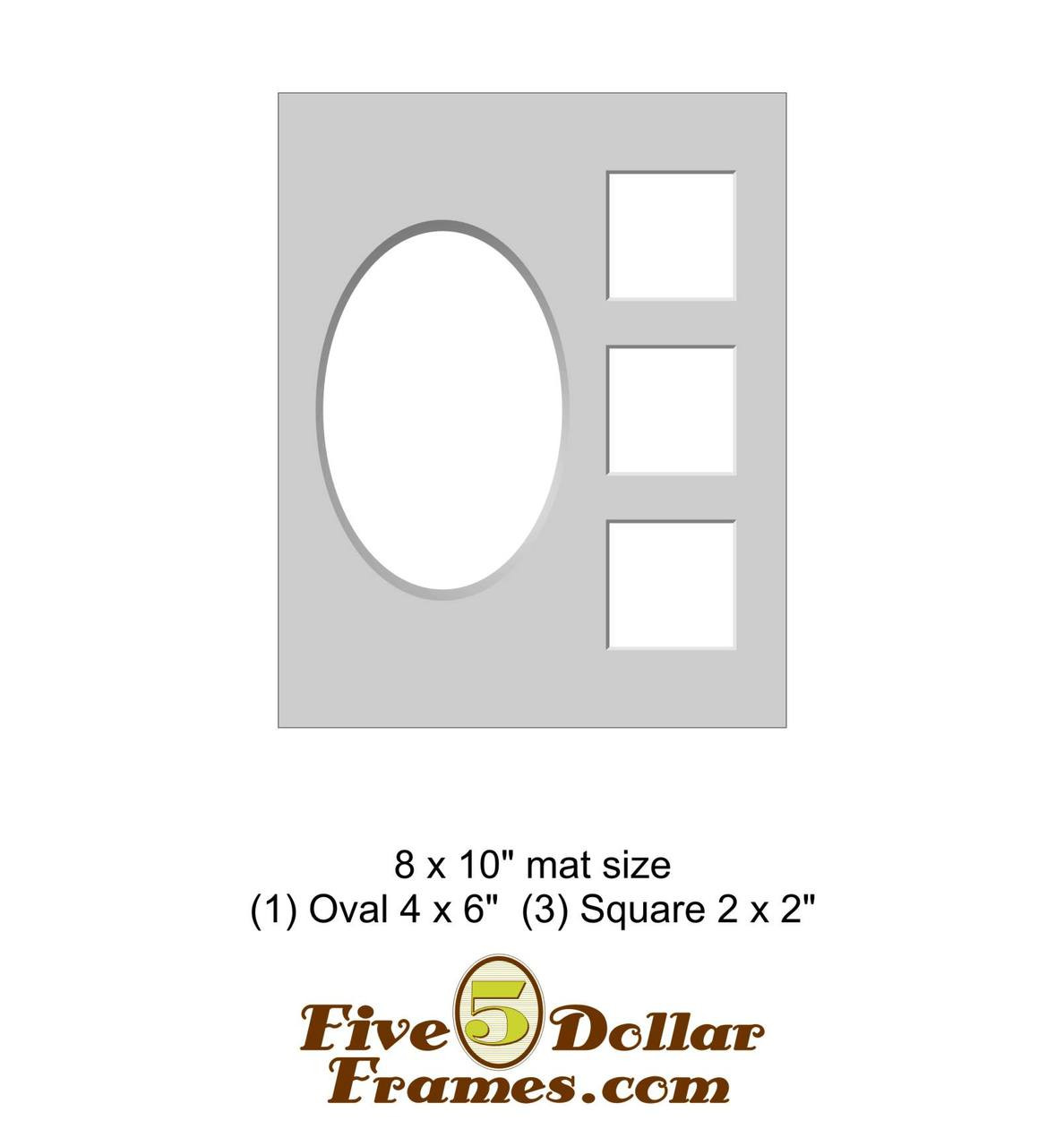 "8x10"" Matboard - 1 Oval, 3 Square Openings"