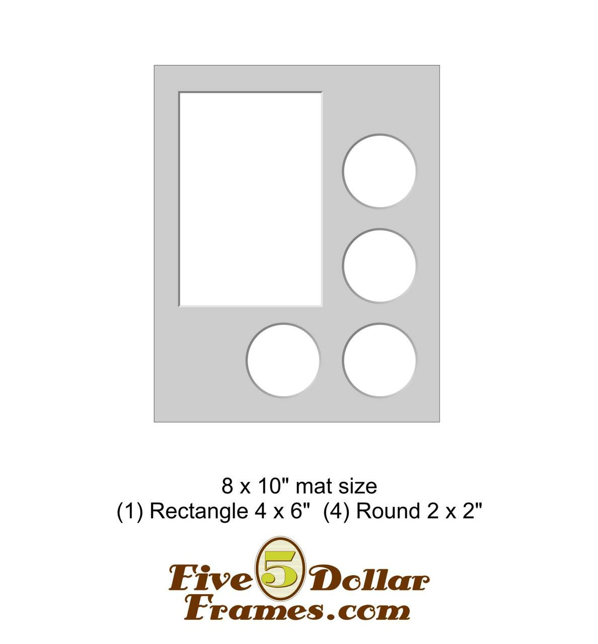 "8x10"" Matboard - 1 Rectangle / 4 Round Openings"