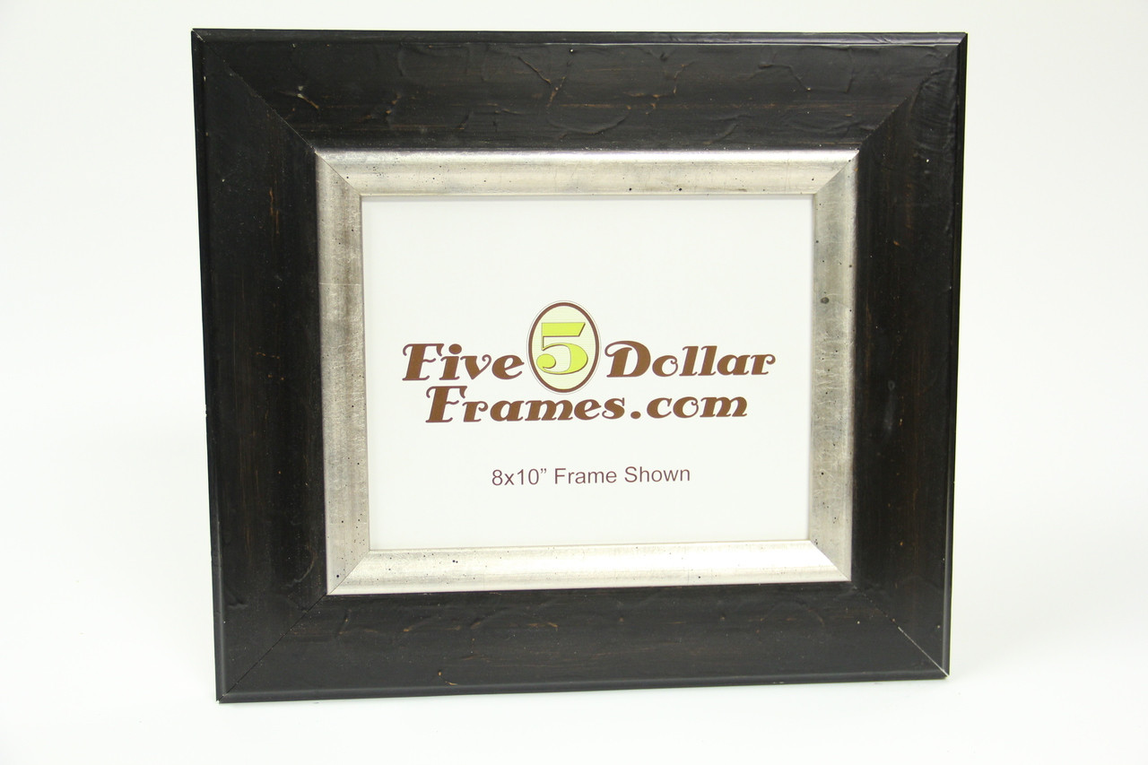 "1510-40 3.5"" Black Distressed Silver Leaf Picture Frame"