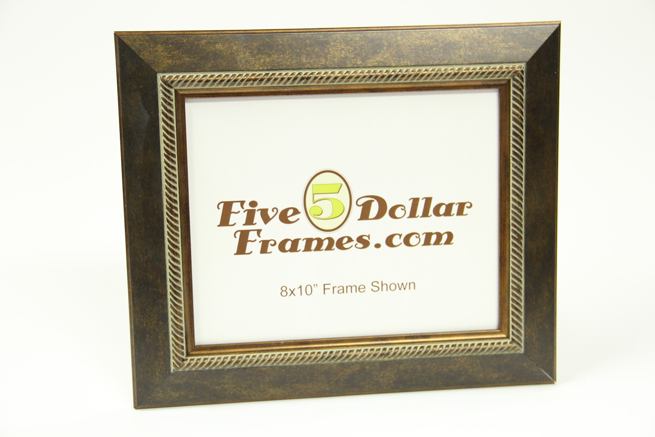 """96-200 1.75"""" Bronze Slope w/Rope Detail Picture Frame"""
