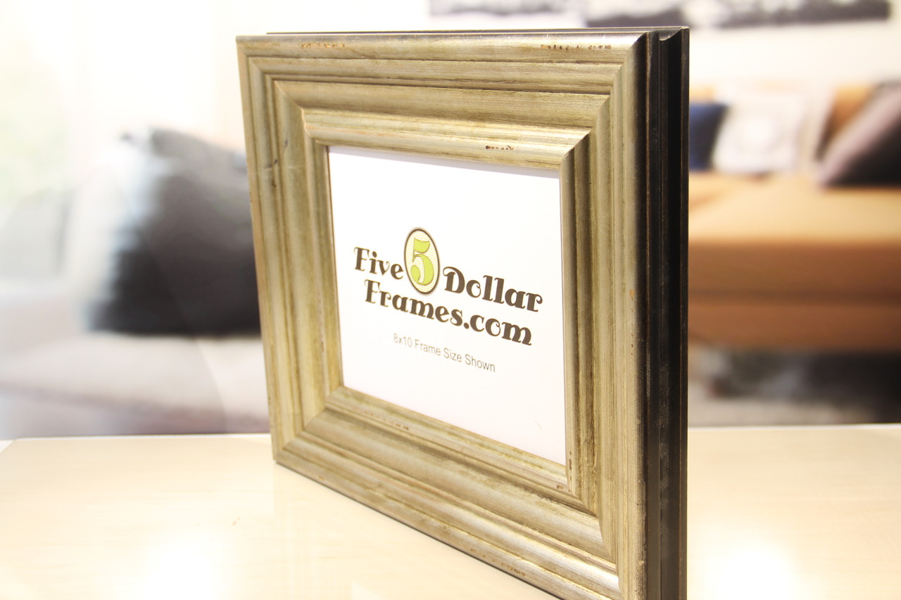 Aged Silver Patina Wide Picture Frame