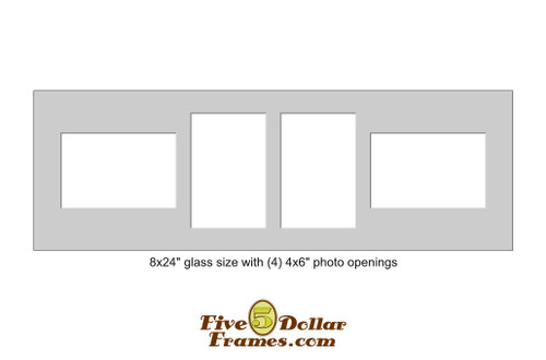 "8x24"" Matboard w/  4 - 4x6"" rectangle openings"