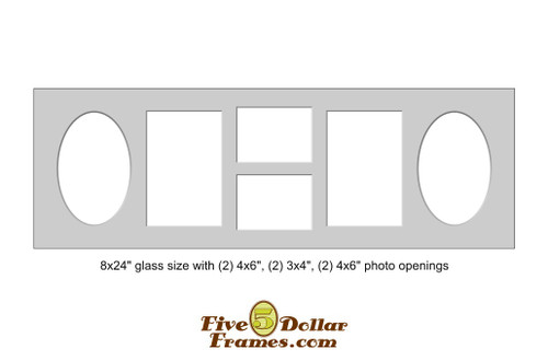 "8x24"" Matboard with 2) 4x6"" oval, (2) 3x4"", (2) 4x6"" photo openings"