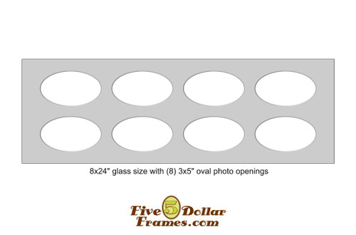 "8x24"" Matboard with 8 - 3x5"" oval photo openings"