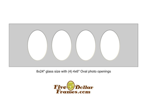 """8x24"""" Matboard with 4 - 4x6"""" oval photo openings"""