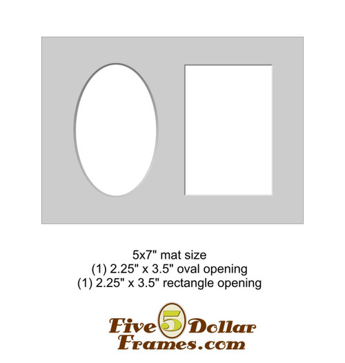 "5x7"" Matboard - Oval and Rectangle Opening"