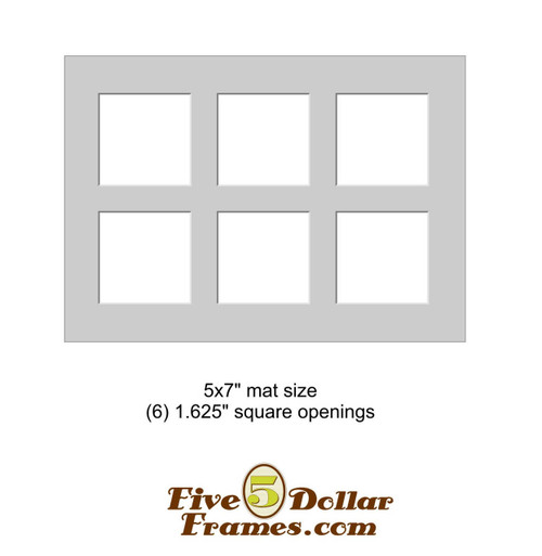 "5x7"" Matboard - 6 Square Openings"