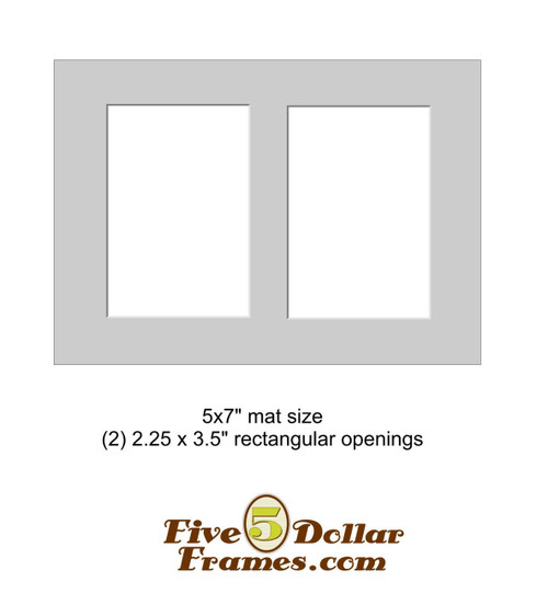 "5x7"" Matboard - 2 Rectangle Opening"
